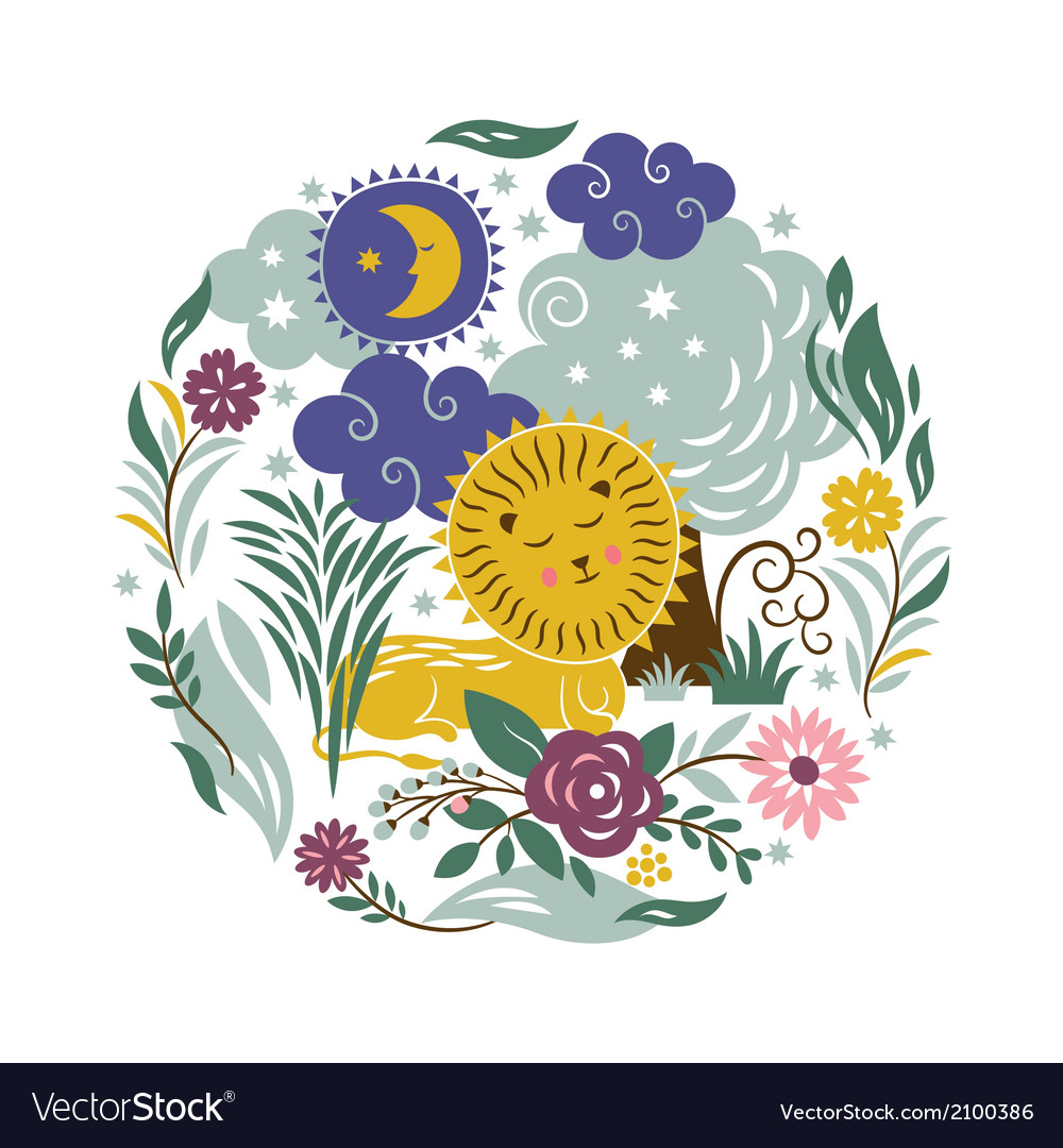 Sleeper lion with a entourage of trees and flowers vector | Price: 1 Credit (USD $1)
