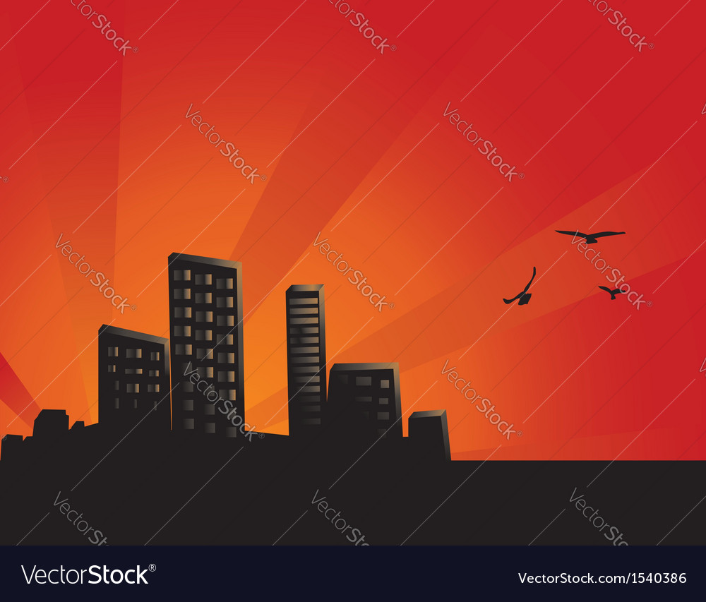 Sunset city background vector | Price: 1 Credit (USD $1)