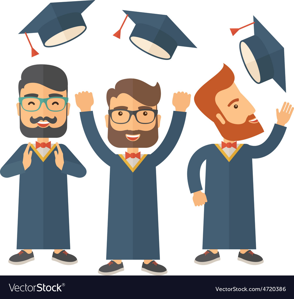 Three men throwing graduation cap vector | Price: 1 Credit (USD $1)