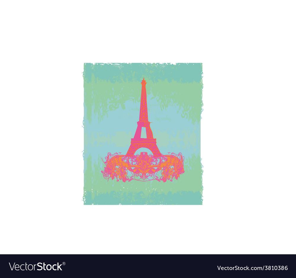 Vintage retro eiffel tower card vector | Price: 1 Credit (USD $1)