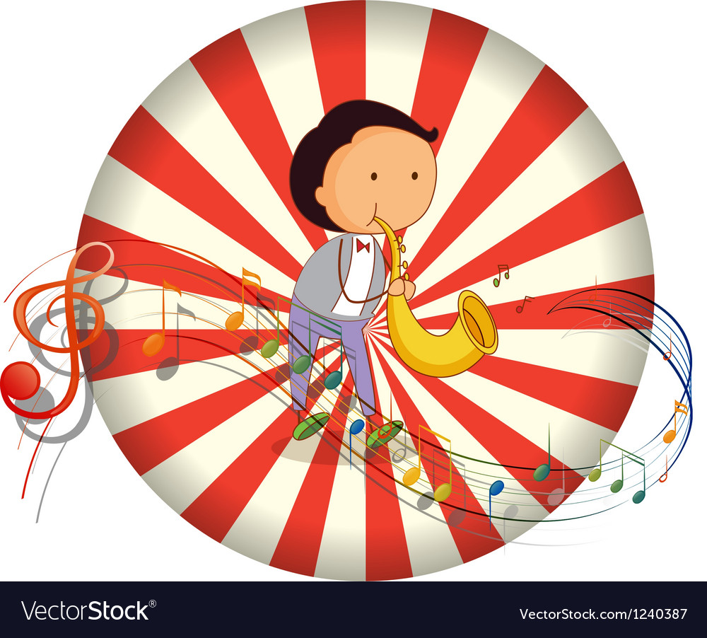 A boy playing with a musical instrument with vector | Price: 1 Credit (USD $1)