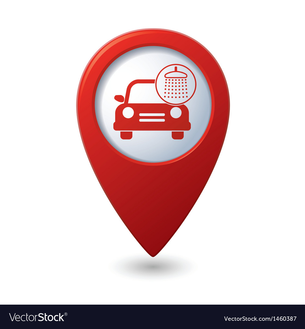 Car wash icon on red map pointer vector | Price: 1 Credit (USD $1)