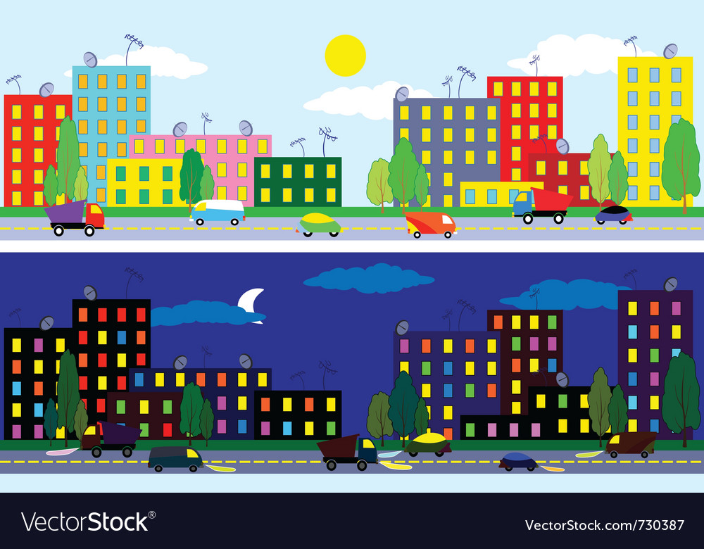 City night and day vector | Price: 1 Credit (USD $1)