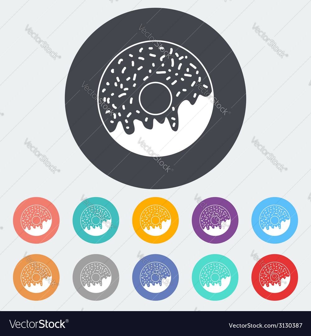 Donut flat icon vector | Price: 1 Credit (USD $1)