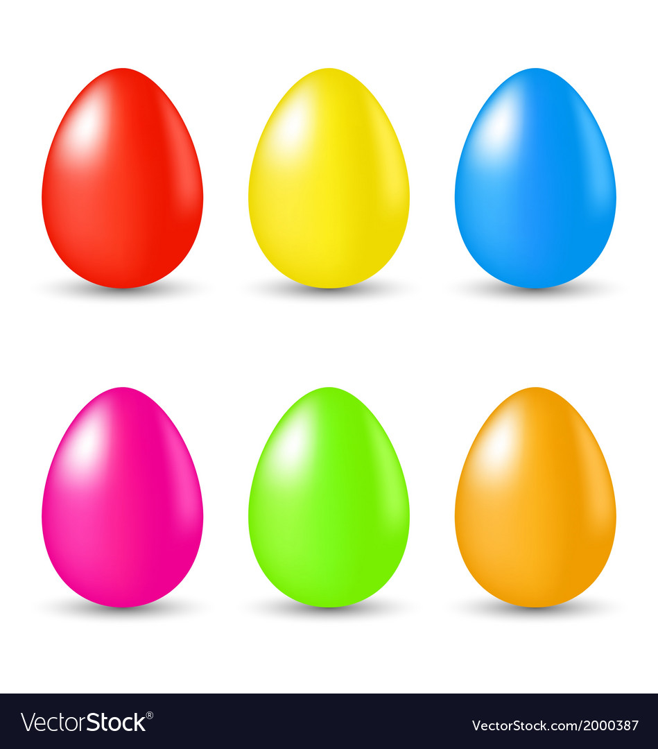 Easter set paschal eggs isolated on white vector | Price: 1 Credit (USD $1)