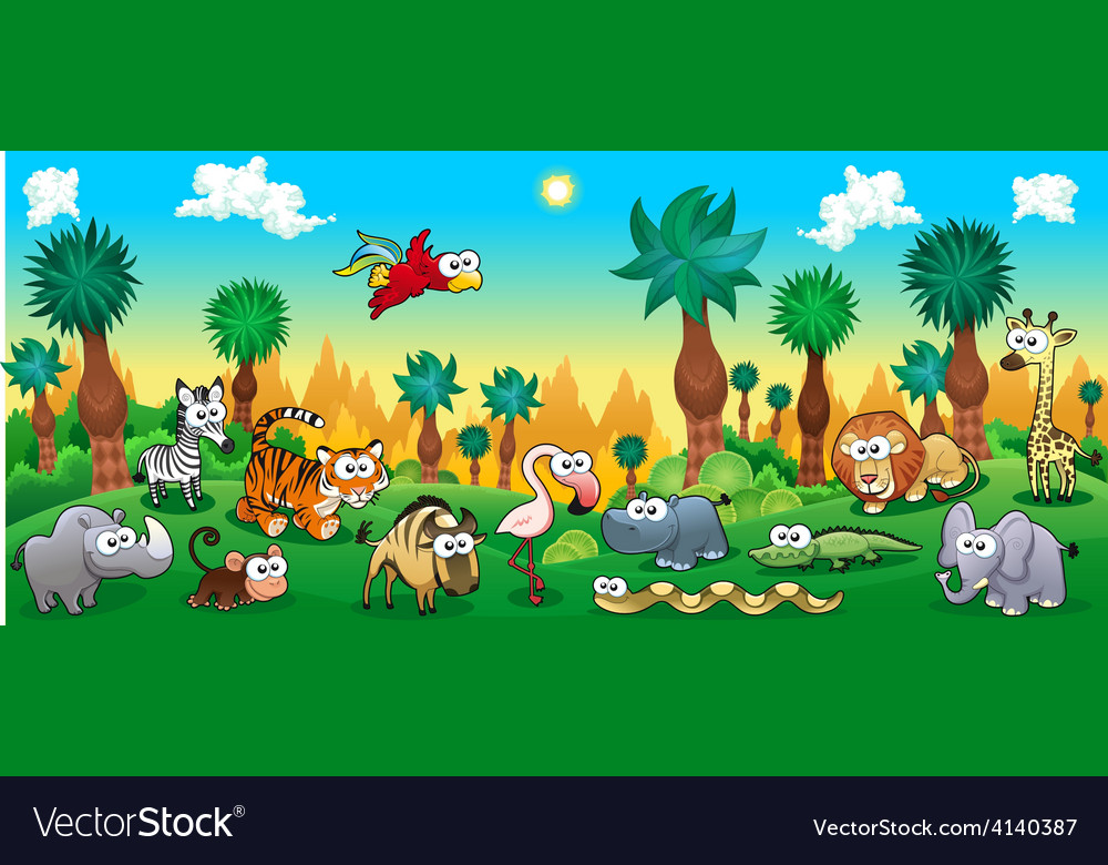 Green forest with funny wild animals vector | Price: 3 Credit (USD $3)