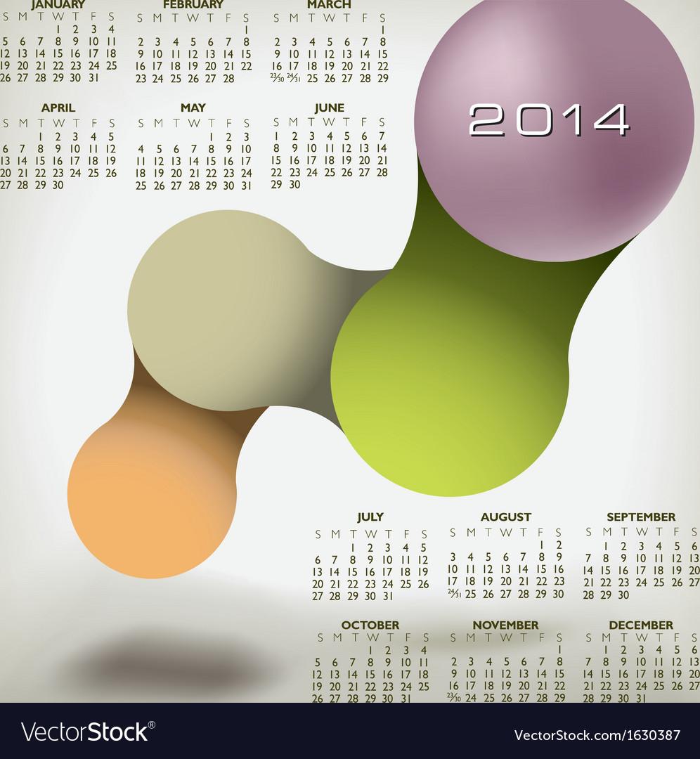 Modern 2014 calendar upscale colors vector | Price: 1 Credit (USD $1)