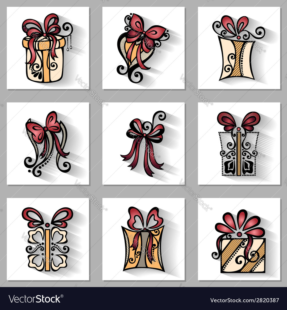 Set of ornamental holiday gift with long shadow vector | Price: 1 Credit (USD $1)