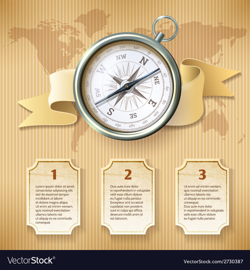 Silver compass infographic vector | Price: 1 Credit (USD $1)