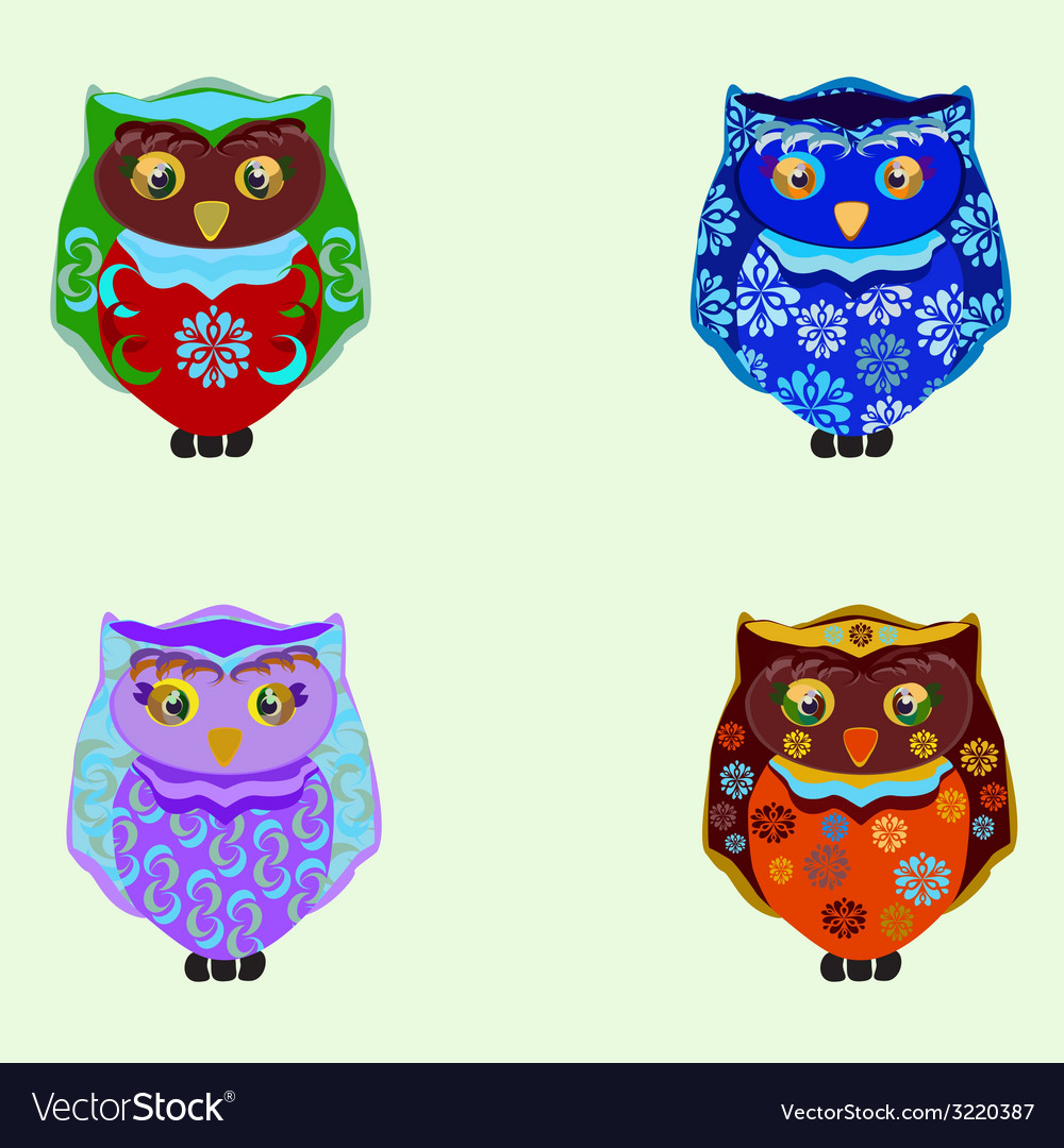 Small colored owls vector | Price: 1 Credit (USD $1)