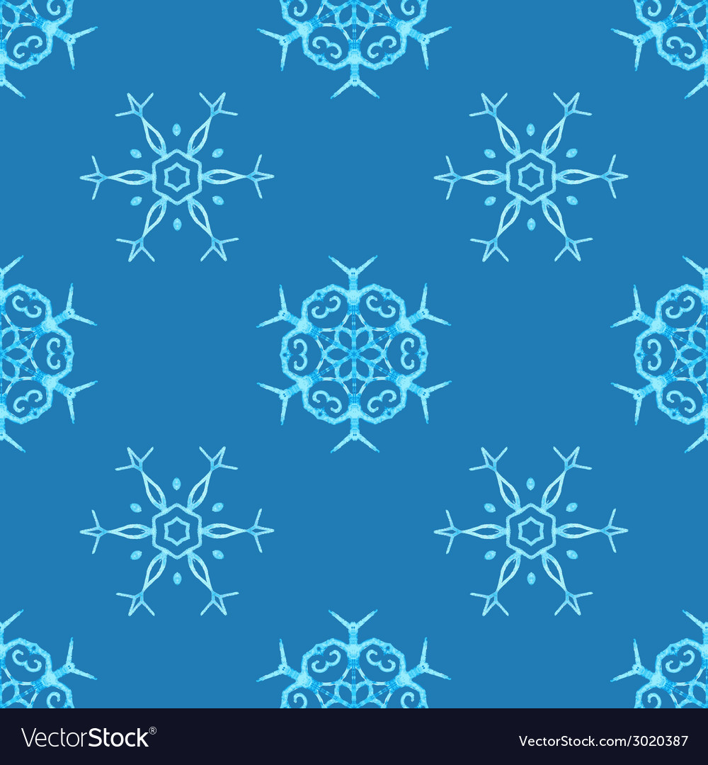 Watercolour snowflakes on blue background vector | Price: 1 Credit (USD $1)