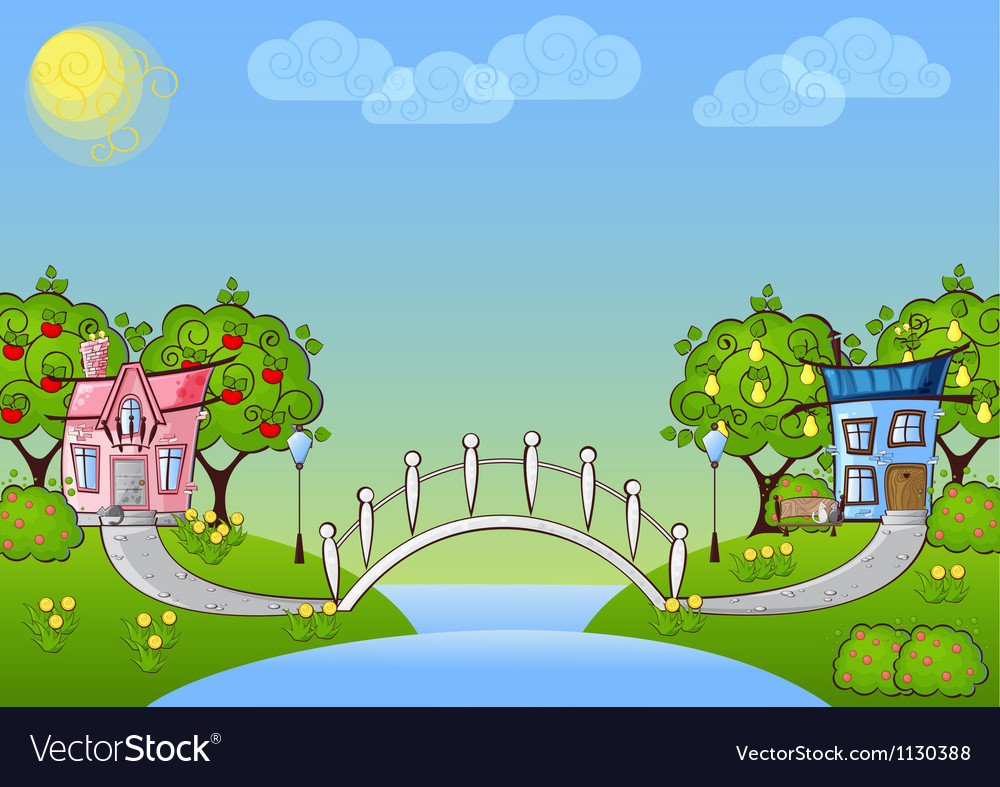 Background cartoon house vector | Price: 1 Credit (USD $1)