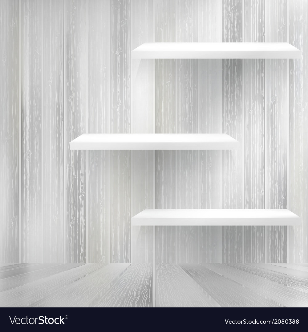 Blank white wooden bookshelf  eps10 vector | Price: 1 Credit (USD $1)