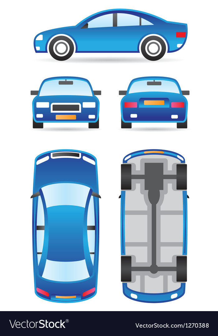 Car in different views vector | Price: 3 Credit (USD $3)