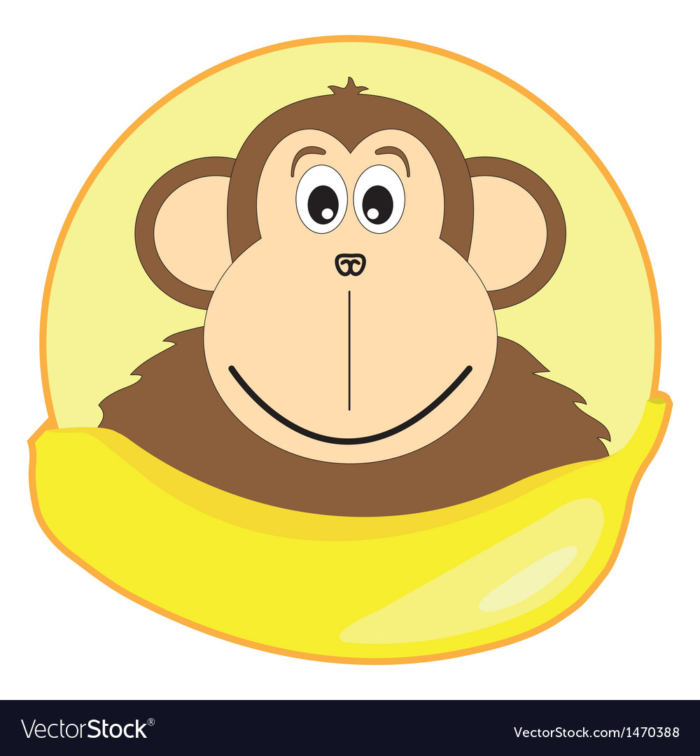 Childrens of a monkey with a banana vector | Price: 1 Credit (USD $1)