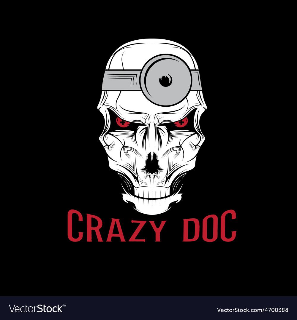 Crazy doctor skull vector | Price: 1 Credit (USD $1)