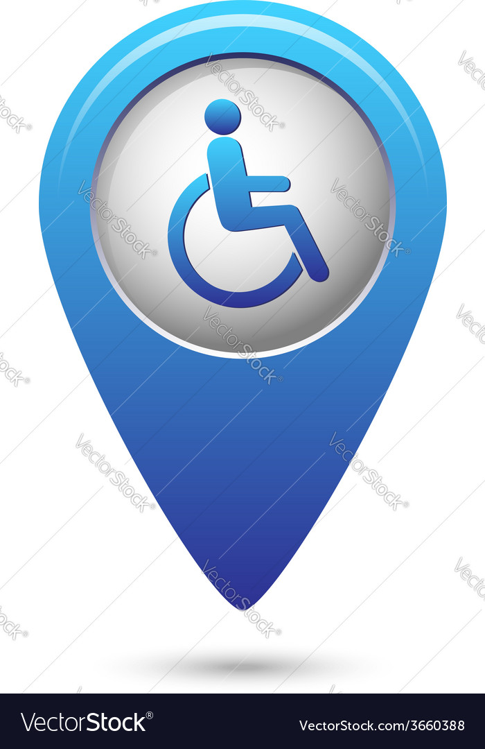 Disabled icon on map pointer vector | Price: 1 Credit (USD $1)