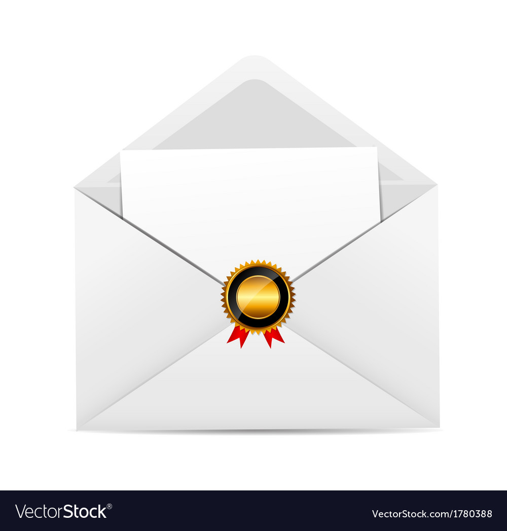Envelope with golden stamp vector   Price: 1 Credit (USD $1)