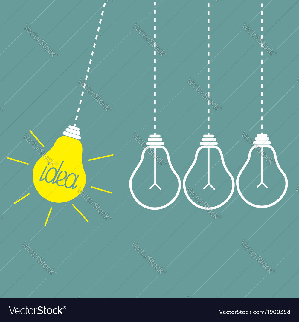 Four hanging light bulbs perpetual motion idea vector | Price: 1 Credit (USD $1)