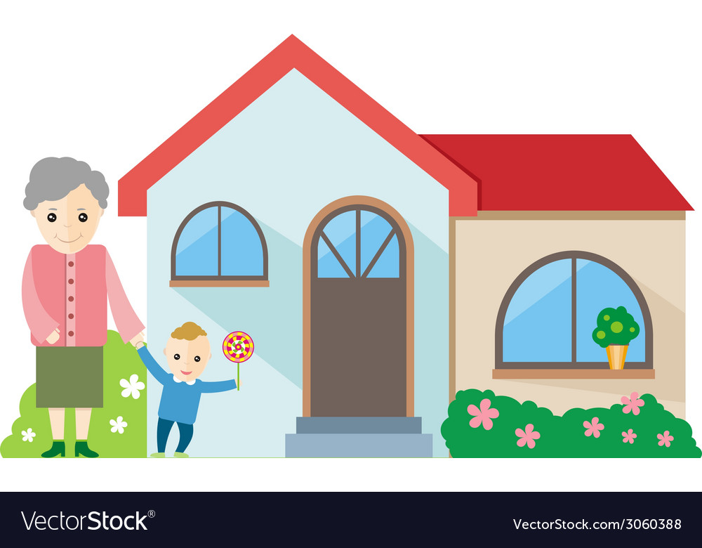 Grandmother playing with her grandchildren vector | Price: 1 Credit (USD $1)