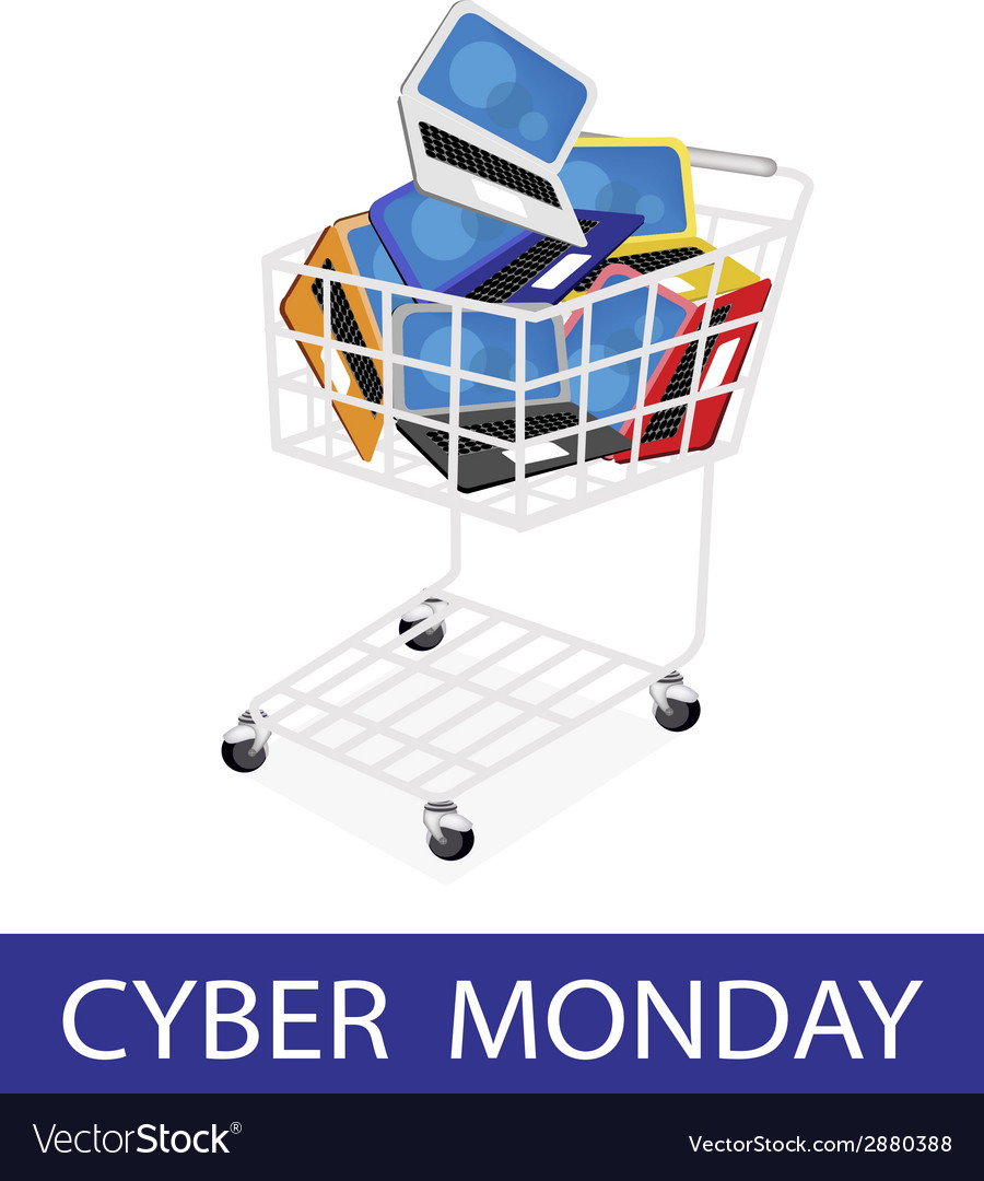 Laptop computer in cyber monday shopping cart vector | Price: 1 Credit (USD $1)