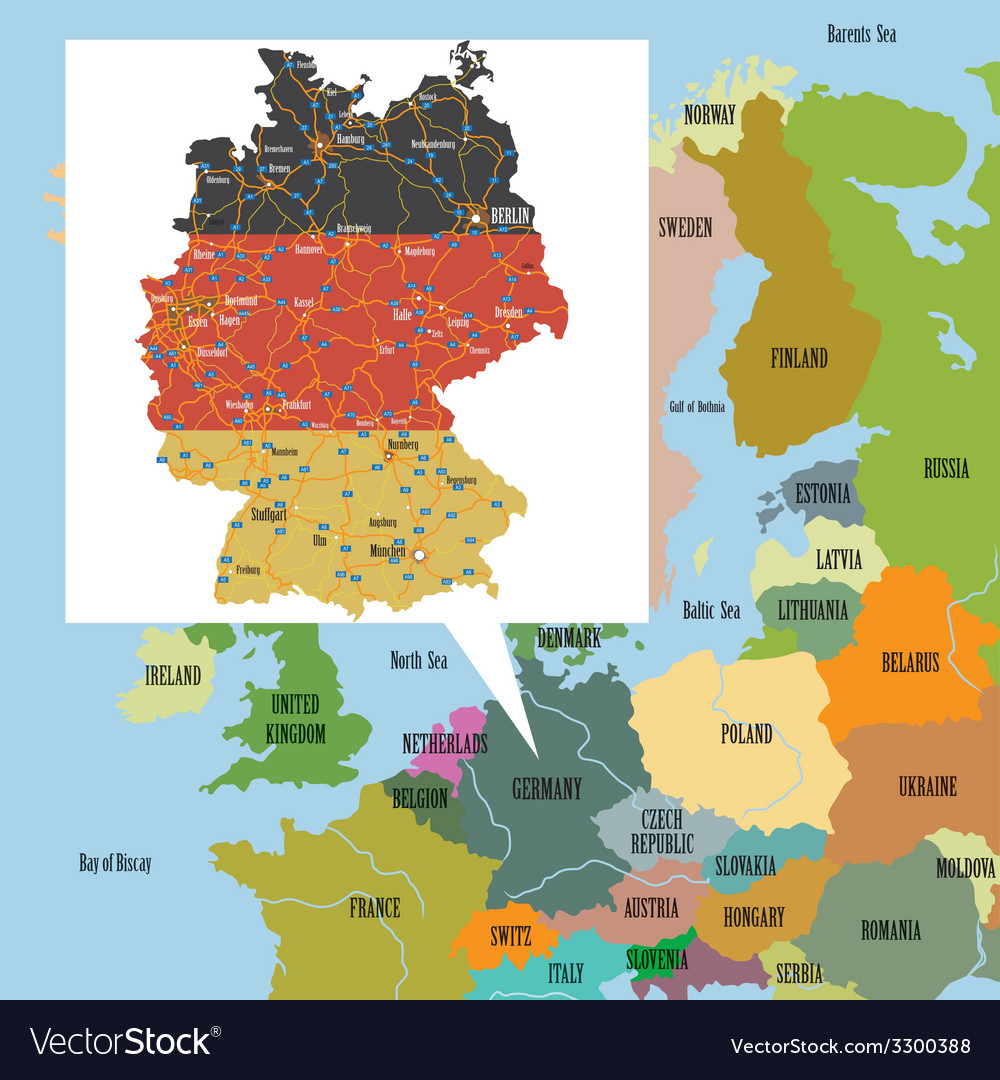 Original map of europe and germany vector | Price: 1 Credit (USD $1)