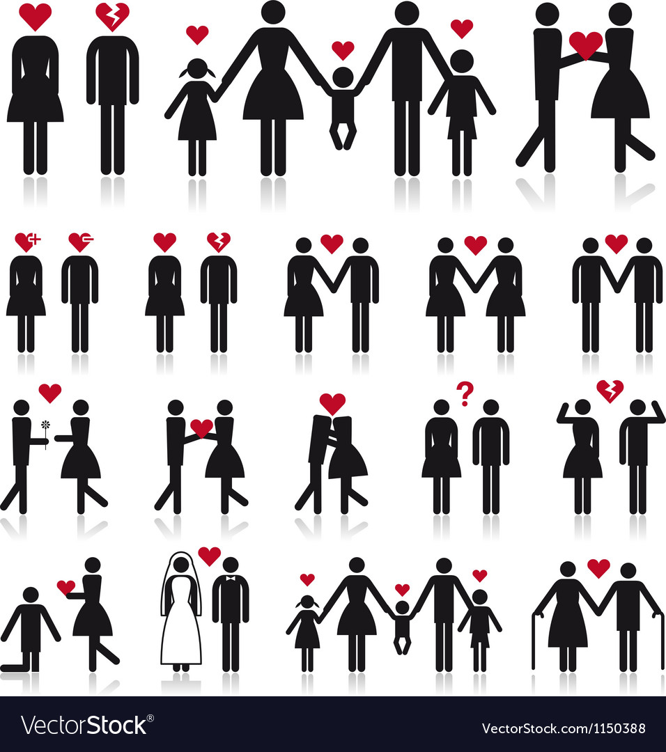 People in love icon set vector | Price: 1 Credit (USD $1)
