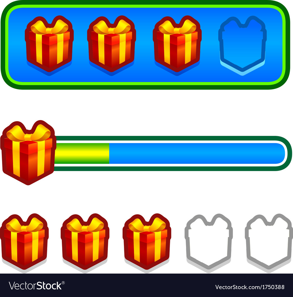 Progress bar with gift boxes vector   Price: 1 Credit (USD $1)