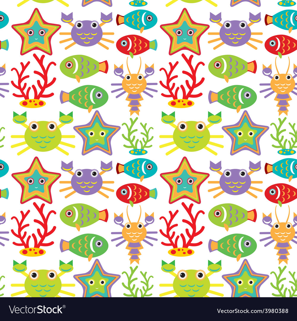 Seamless pattern with marine animals on a white vector | Price: 1 Credit (USD $1)