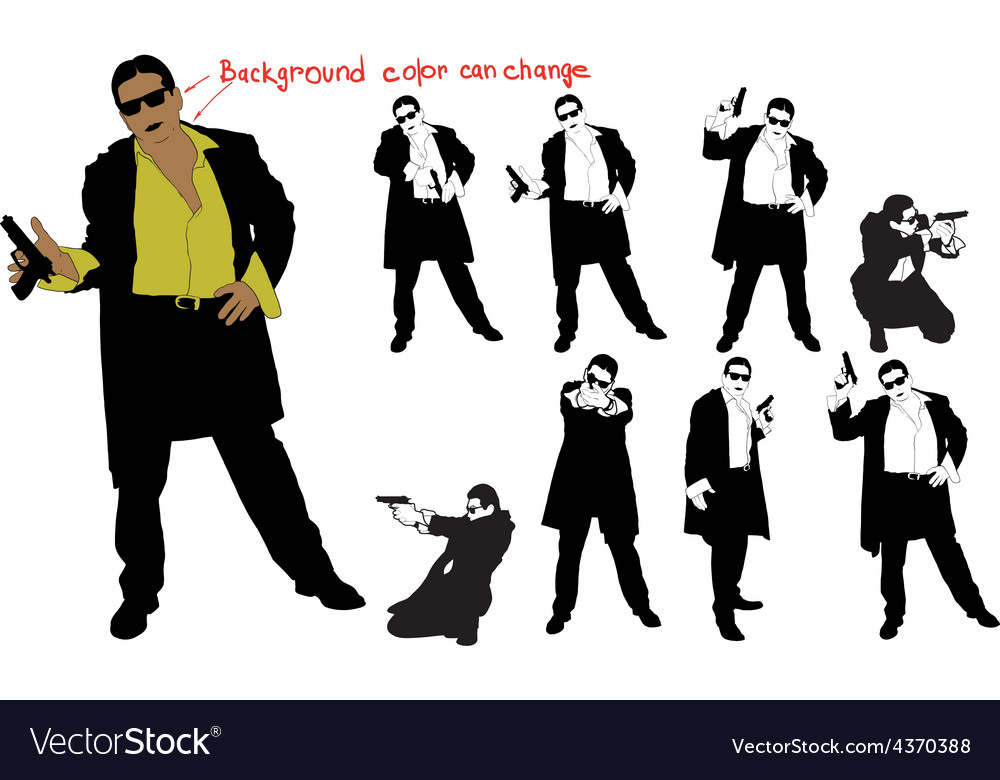 Silhouette of armed man vector | Price: 1 Credit (USD $1)