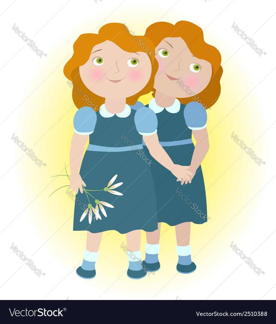 Twin girls holding hands zodiac sign gemini vector | Price: 1 Credit (USD $1)