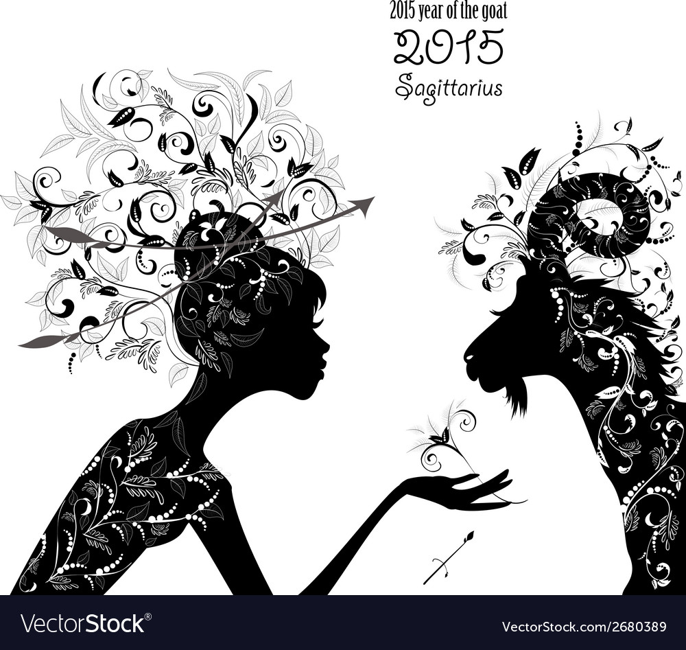 2015 year of the beautiful goat and zodiac sign vector | Price: 1 Credit (USD $1)