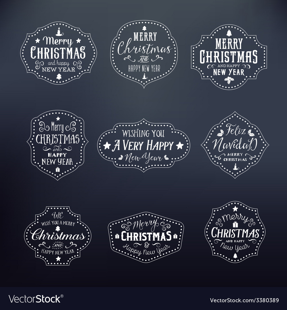 Christmas vintage typography badges set on noble vector | Price: 1 Credit (USD $1)