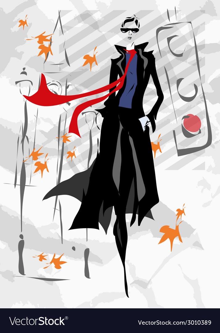 The fashionable woman goes down the street fall vector | Price: 1 Credit (USD $1)