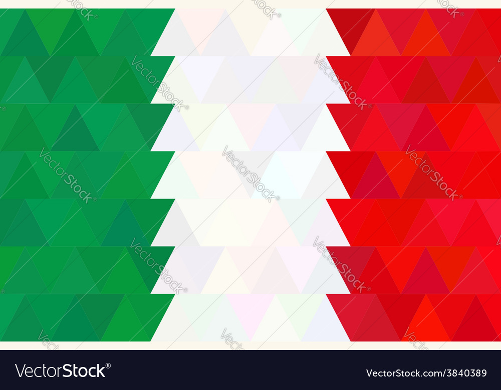 Geometric background in italy flag triangle vector | Price: 1 Credit (USD $1)