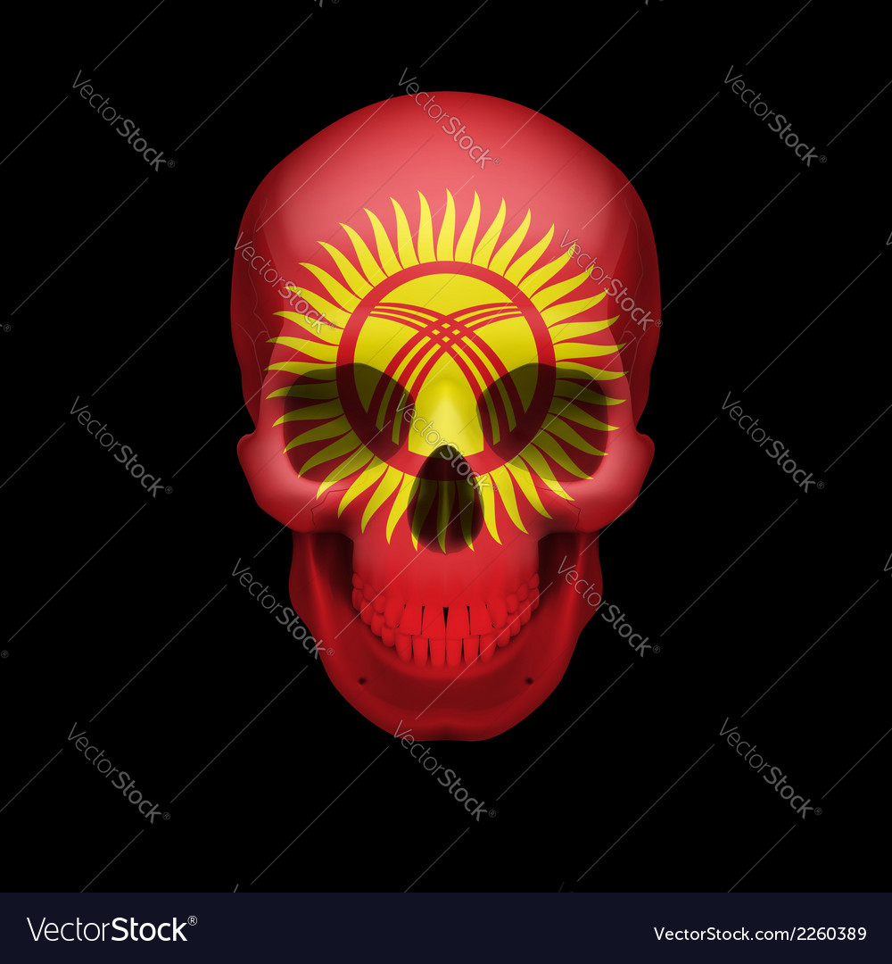 Kyrgyz flag skull vector | Price: 1 Credit (USD $1)