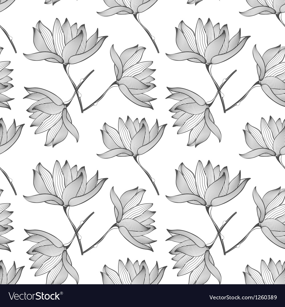 Lotus flowers seamless pattern vector | Price: 1 Credit (USD $1)
