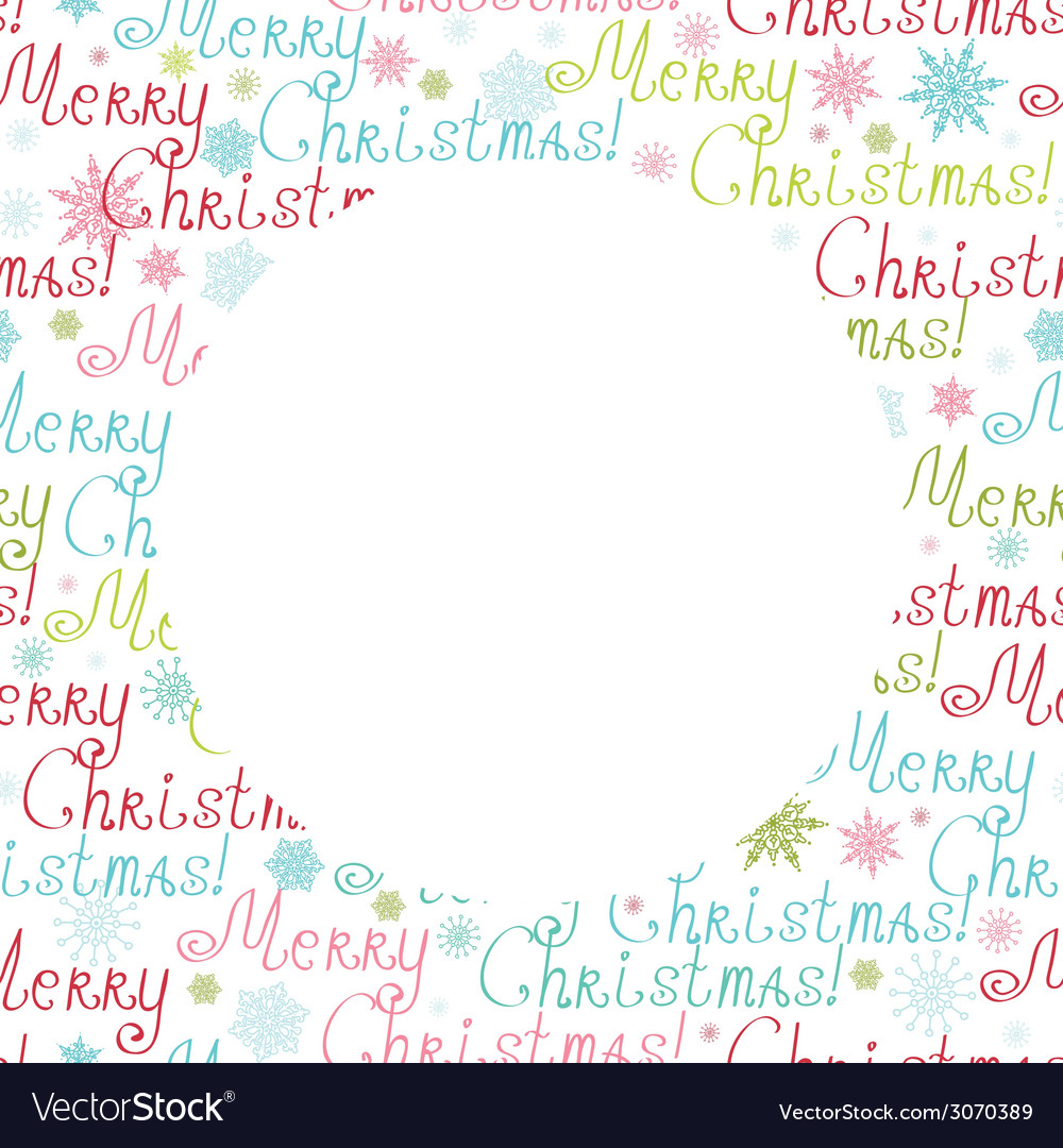 Merry christmas text circle frame seamless pattern vector | Price: 1 Credit (USD $1)