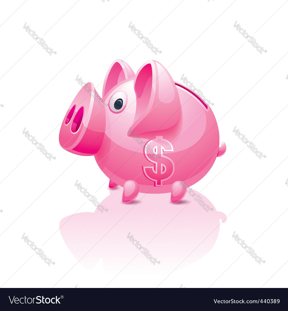 Piggy bank with dollar sign vector | Price: 3 Credit (USD $3)