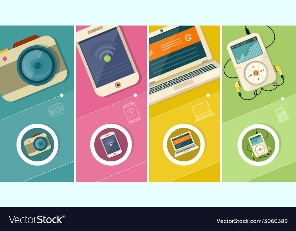 Set of display laptop computer smartphone vector | Price: 1 Credit (USD $1)