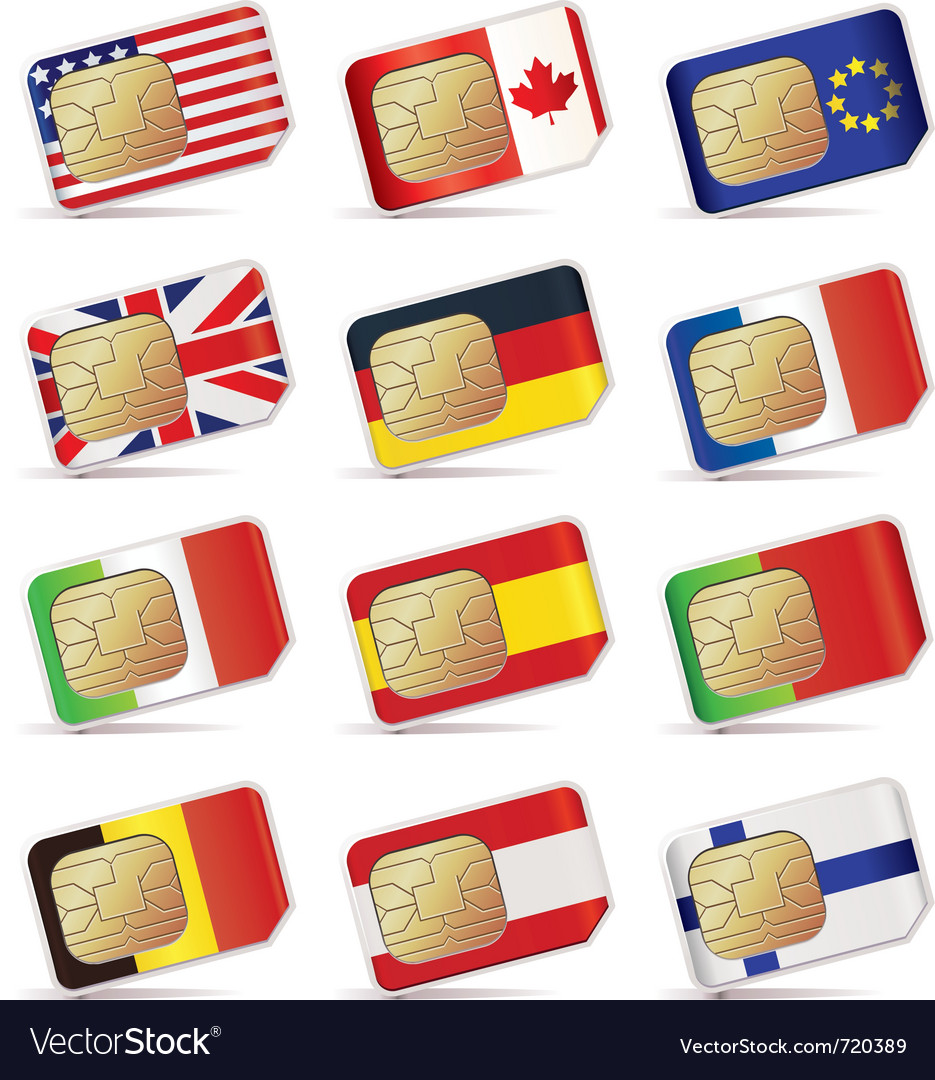 Sim cards with flags vector | Price: 1 Credit (USD $1)