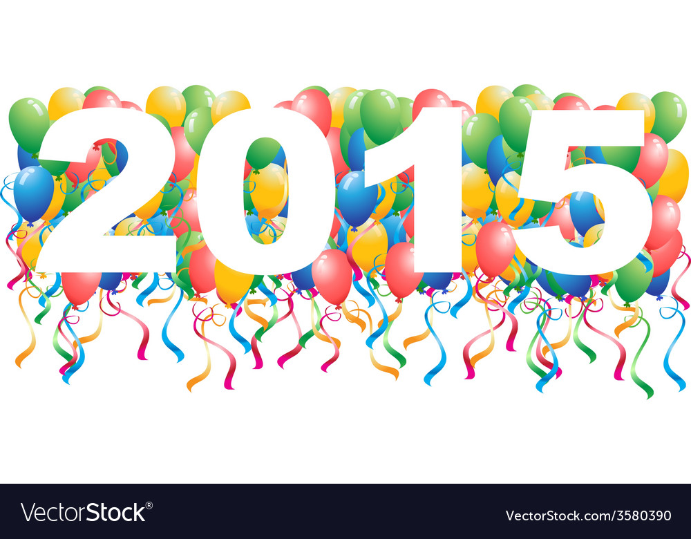 2015 balloons new year background vector | Price: 1 Credit (USD $1)