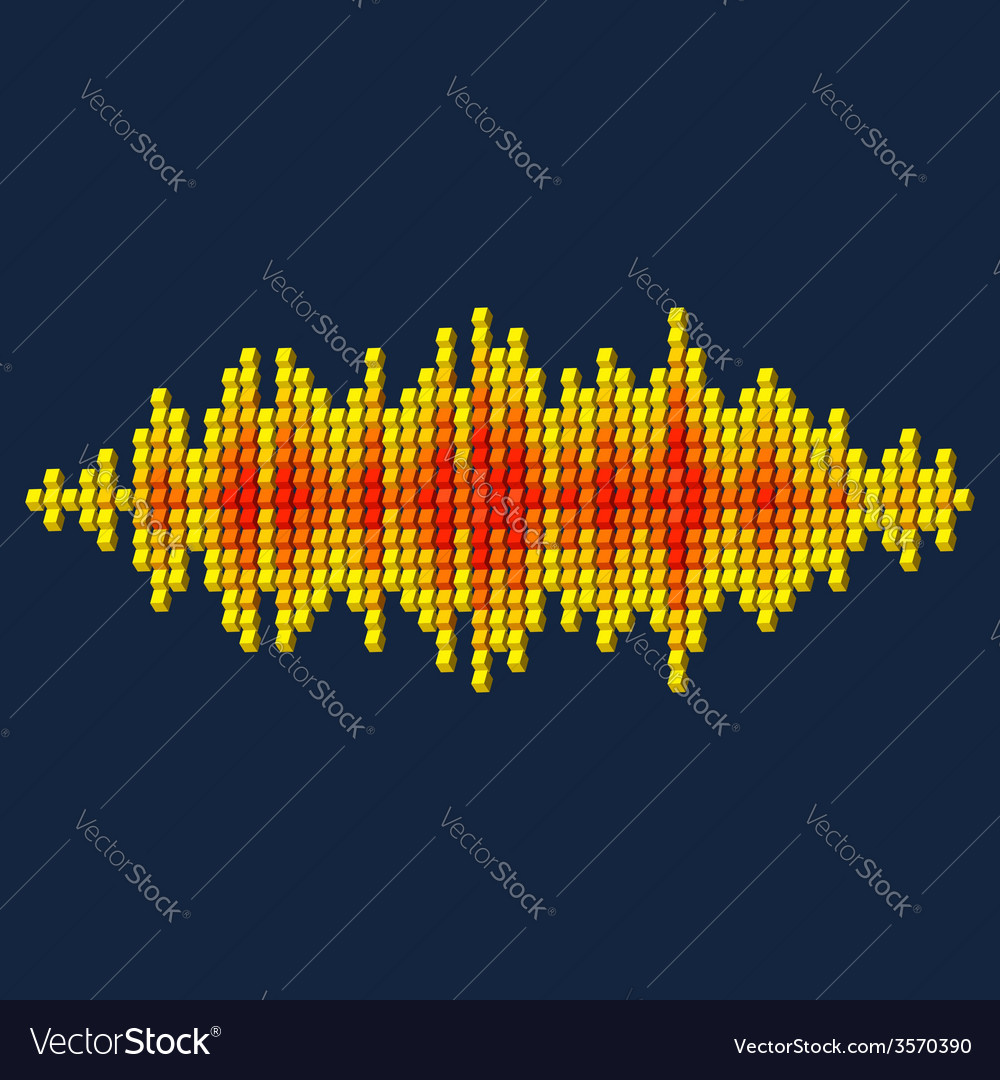 3d yellow sound waveform made of cubes vector | Price: 1 Credit (USD $1)