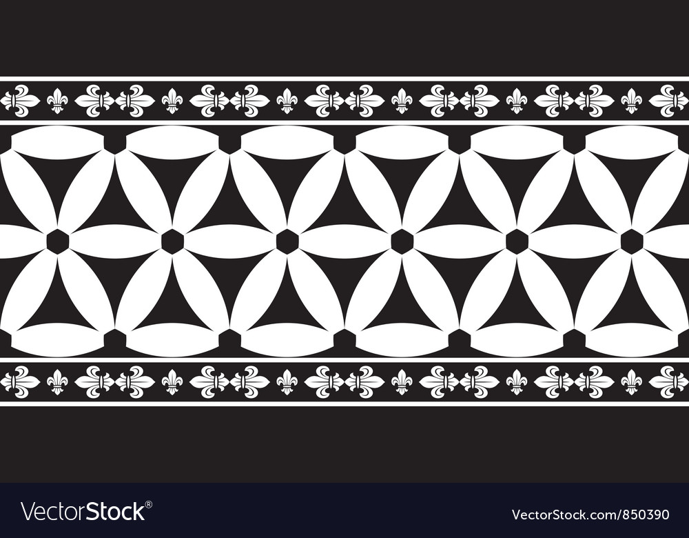 Black-and-white gothic geometrical floral border vector | Price: 1 Credit (USD $1)