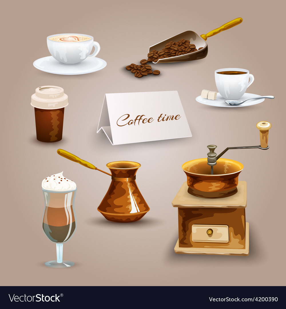 Coffee icons set vector | Price: 1 Credit (USD $1)