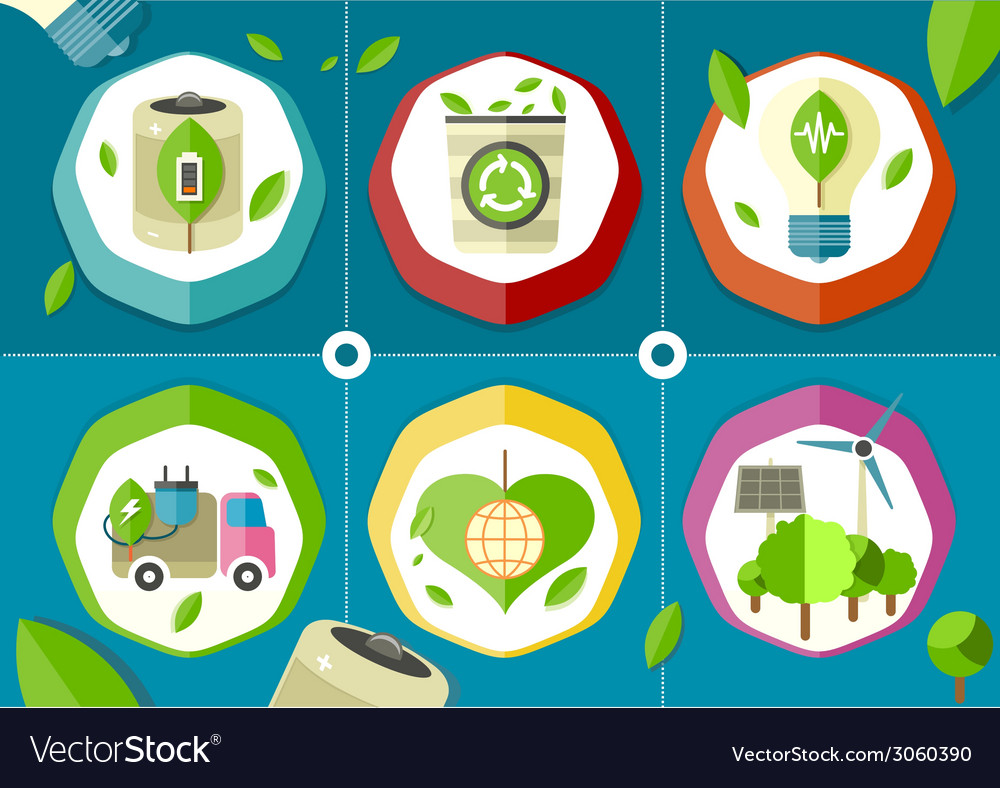 Eco icons green battery car vector | Price: 1 Credit (USD $1)