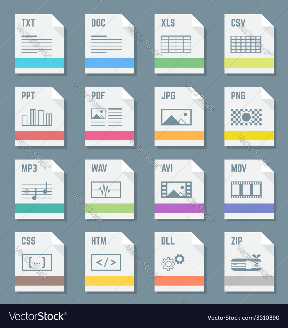 File formats icons set with vector | Price: 1 Credit (USD $1)