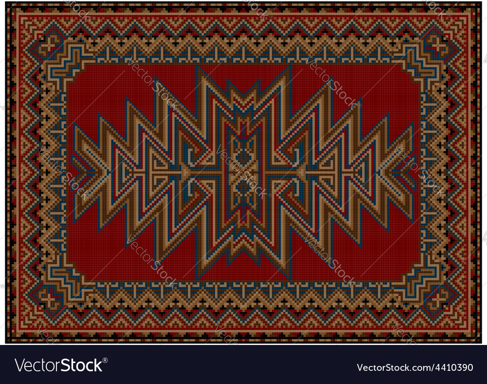 Oriental carpet with original pattern on a red bac vector | Price: 1 Credit (USD $1)