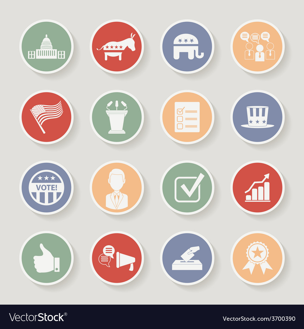 Round political election campaign icons set vector | Price: 1 Credit (USD $1)