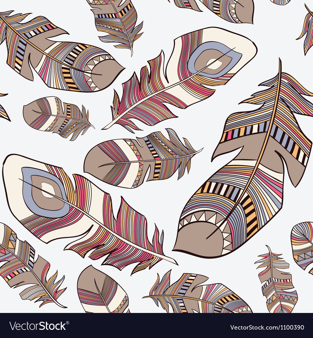 Seamless ethnic indian feathers plumage pattern vector | Price: 1 Credit (USD $1)